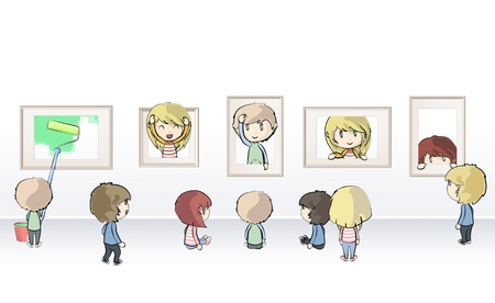 Group of kids watching frames in museum  Vector illustration  Vector