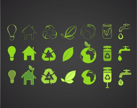 Collection of several ecological icons. Vector design.  Ilustracja