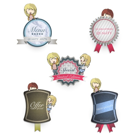 Collection of kids holding vintage labels. Vector design. Stock Vector - 18727242