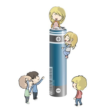 Kids around battery. Vector design. Stock Vector - 18727176