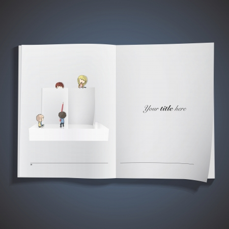 book background: Group of friends writing in an open book.  Illustration