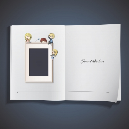 Kids on frame on white book.   Vector
