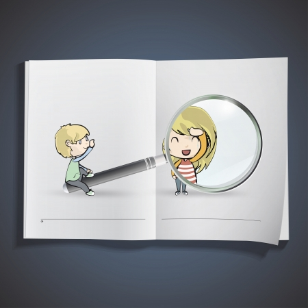 Kids playing with magnifying glass inside a book.   Stock Vector - 18904039
