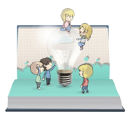 Kids around bulb in book.  Stock Vector - 18904063