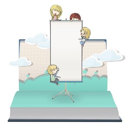 Many children around projector screen in book. Stock Vector - 18904055