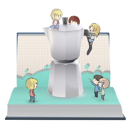 Kids around coffee pot in book.  Stock Vector - 18904059