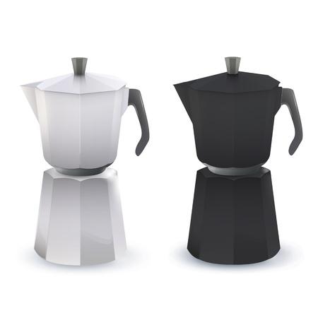 coffeepot: Black and white coffee pot