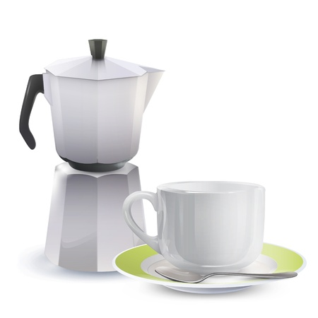 Realistic cup and teapot  Vector