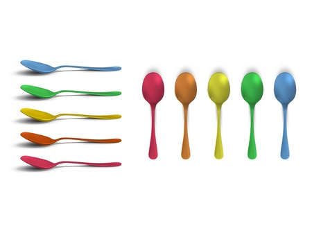 Collection of colorful spoons    Vector
