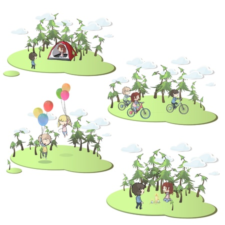 Collection of kids in beautiful landscape. Vector design. Stock Vector - 18974816