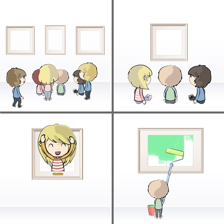 Set of images with many children watching frames in museum. Vector illustration.  Vector