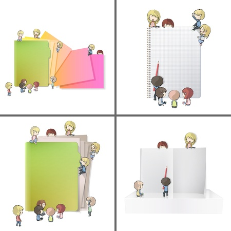 Set of images with many children around folder, book and notebook. Vector design.  Illustration