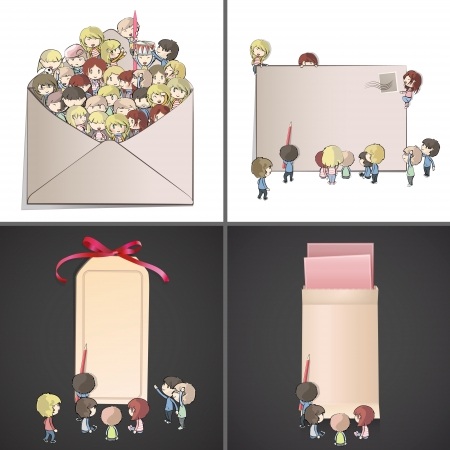 Set of images with many children around envelope and cards. Vector design.  Vector