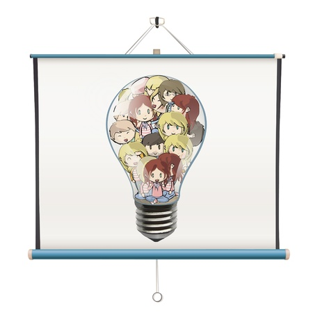 Many children inside a bulb printed on projector screen. isolated  design. Vector