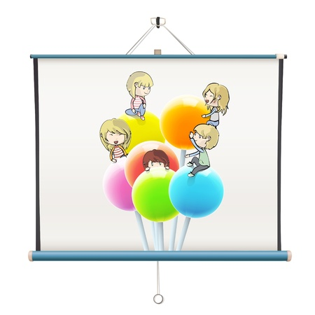 Kids on colorful lollipop printed on projector screen. isolated  design. Vector