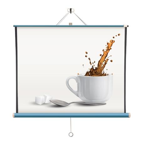 projector screen: Caff� realistico stampato su schermo del proiettore. disegno isolato.