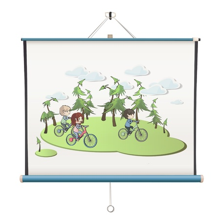 Kids cycling printed on projector screen. isolated  design. Stock Vector - 19198323