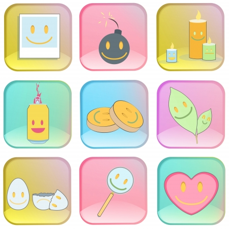 Collection of icons on colorful buttons  Stock Vector - 19198335