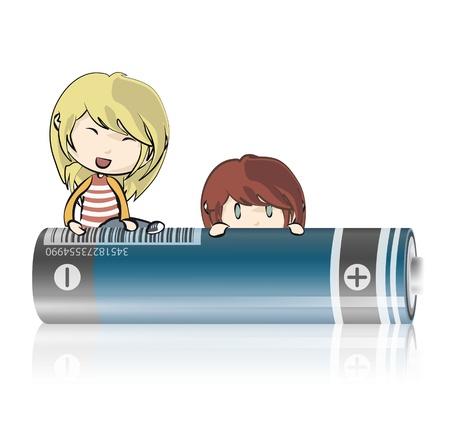 Kids on battery   design   Stock Vector - 19198333