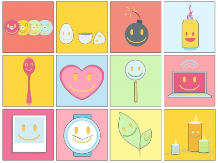 explosive watch: Collection of icons on colorful backgrounds