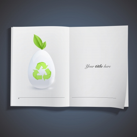 White egg with recycle icon inside book. Stock Vector - 19267186