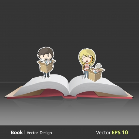 Couples moving lots of toys and objects on Pop Up book. Vector illustration. Stock Vector - 19267216