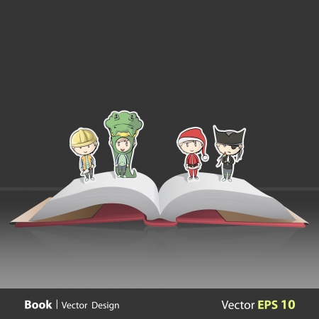 Kids with costumes on Pop Up book. Vector