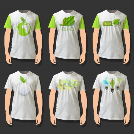 tshirt: Collection of shirts with eco icons. Realistic  design.  Illustration
