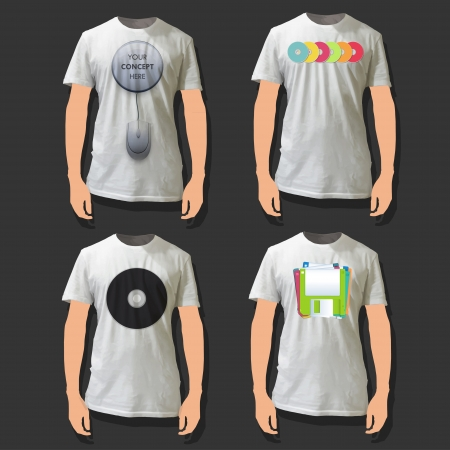Collection of shirts with mouse, CD and Diskette printed.
