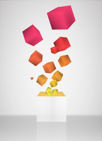 Colorful cubes on grey background. Vector design. Vector