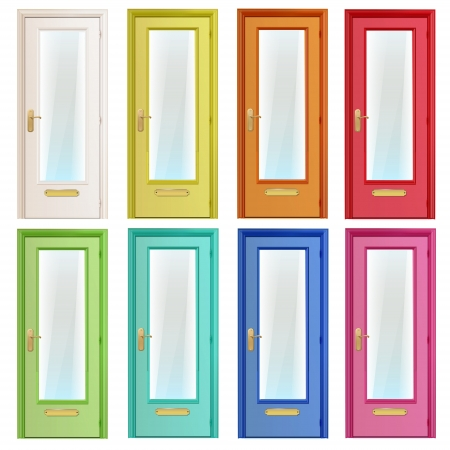 4 door: Collection of colorful doors with glass.