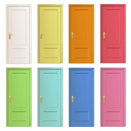 case colorate: Collezione di porte colorate. Vettoriali