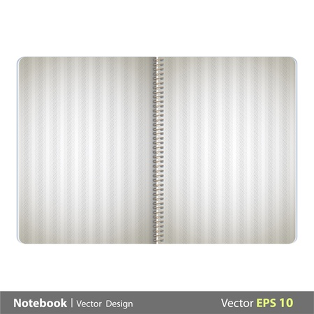 Open notebook with fabric cover.  Vector