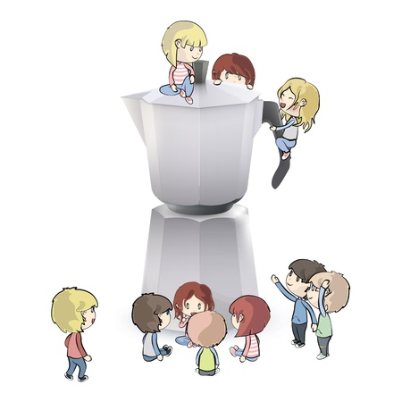 Kids around coffee pot. Vector design Stock Vector - 19355681