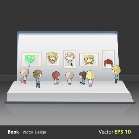Kids view a museum inside a book. Vector design. Vector