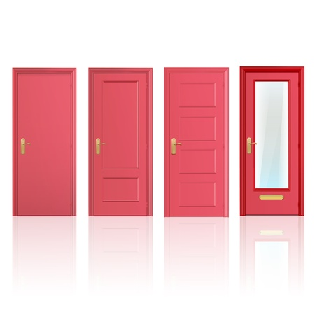 Collection of four red doors, one open and the others closed. Vector design.