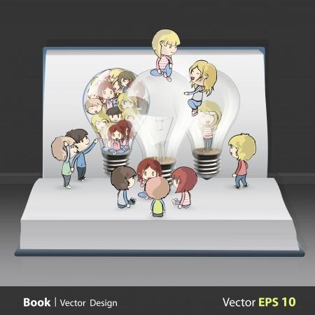 Several kids around bulb inside a book. Vector design. Stock Vector - 19355712