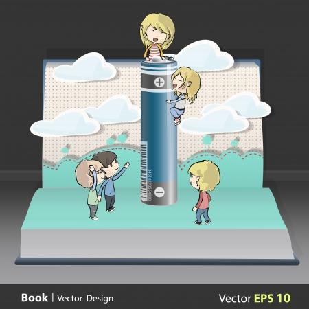 Kids around battery inside a book. Vector design. Stock Vector - 19355708