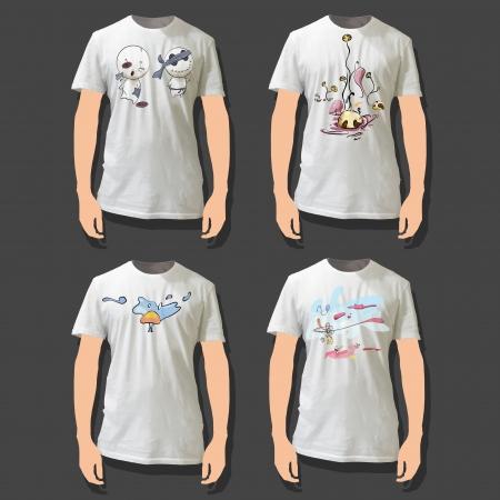 Cute world printed on white shirt  Vector illustration  Vector