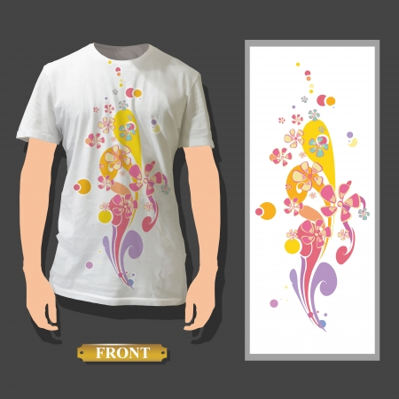 Abstract vintage flowers printed on white shirt  Vector illustration  Vector