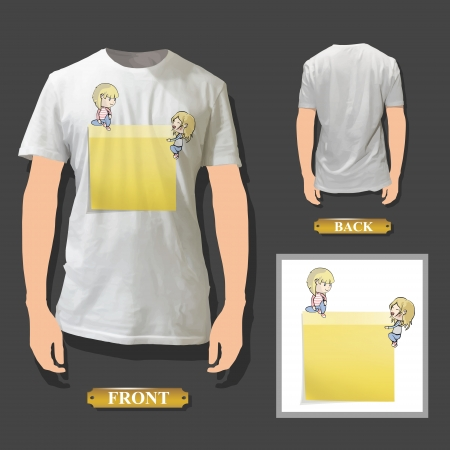 posit: Yellow Post-it printed on white shirt  Vector illustration