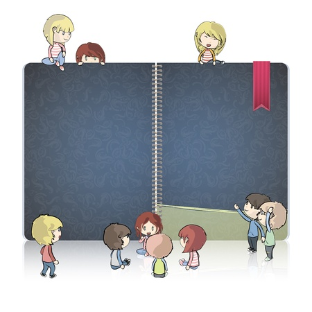 Kids around ring notebook with vintage cover  Vector design   Vector