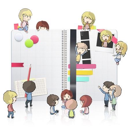note de service: Enfants autour de cahier blanc ouvert avec plusieurs �l�ments � l'int�rieur Vector design Illustration