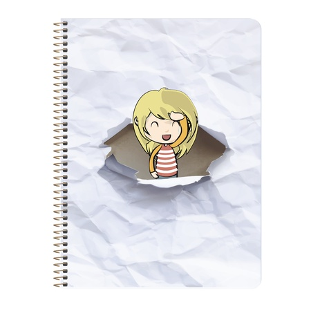 Girl around ring notebook with hole in the cover  Vector design   Vector