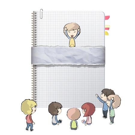 Niños alrededor de notebook anillo con diseño vectorial cubierta reciclado