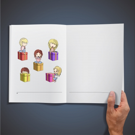 Colorful gift box with kids inside a book. Vector design Stock Vector - 19558999