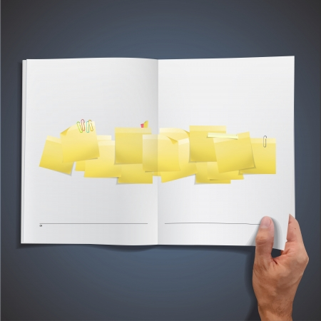 posit: Yellow Post-it inside a book. Vector design