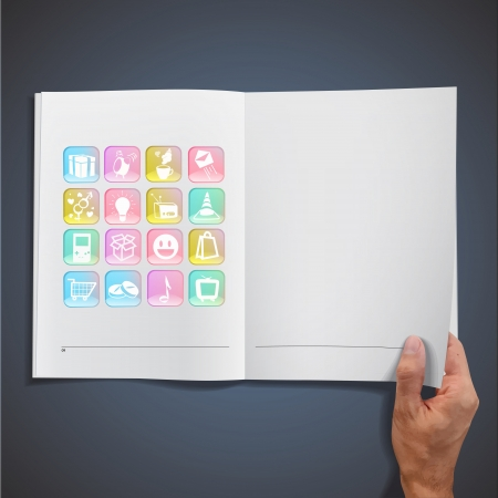 Collection of icons inside a book. Vector design Stock Vector - 19559001