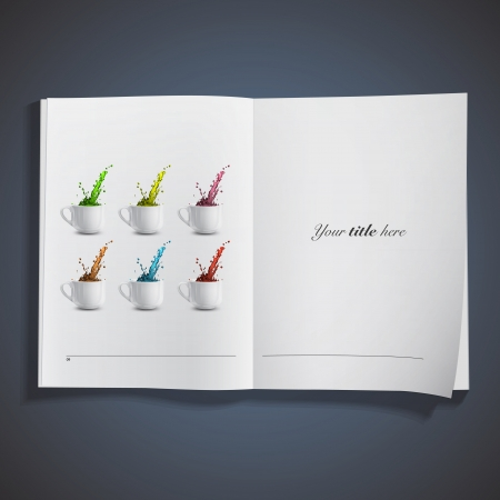 Realistic white cup with colorful drops inside a book. Vector design Stock Vector - 19558987