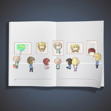Kids view a museum inside a book. Vector design Stock Vector - 19559000